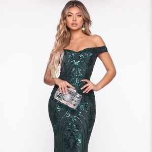 Emerald Green Sequin Gown